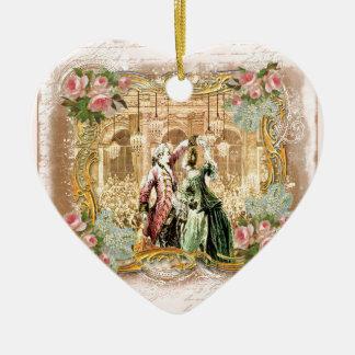 Dança em Versalhes Ornamento De Cerâmica Coração