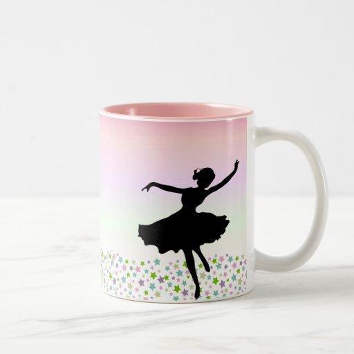 Dança entre as estrelas - por do sol cor-de-rosa canecas