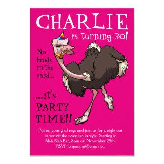 Dança feliz da avestruz em desenhos animados do convite 8.89 x 12.7cm