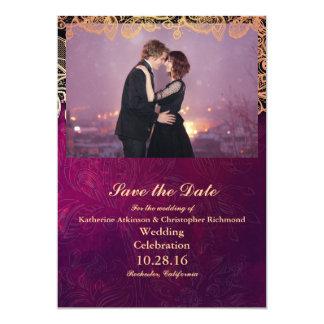 Dança Loving do casal na cidade/roxo da noite Convite 12.7 X 17.78cm