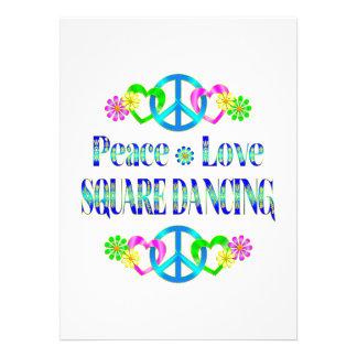 Dança quadrada do amor da paz convites personalizados
