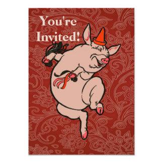 Dançarino bonito do vintage do porco da dança convite 11.30 x 15.87cm