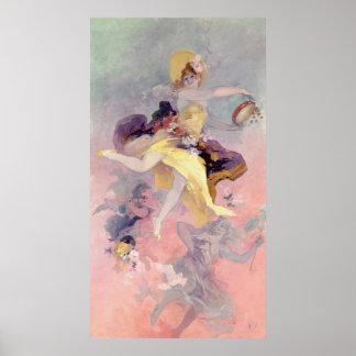 Dançarino com um pandeiro Basque Impressão