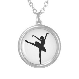 Dançarino de balé colar com pendente redondo