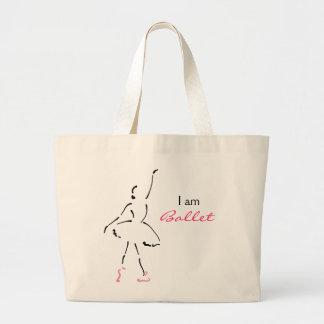 Dançarino de balé gracioso com slogan customizável bolsa tote grande