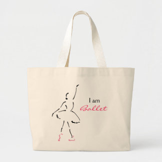 Dançarino de balé gracioso com slogan customizável sacola tote jumbo