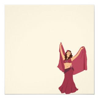 Dançarino de barriga cor-de-rosa convite quadrado 13.35 x 13.35cm