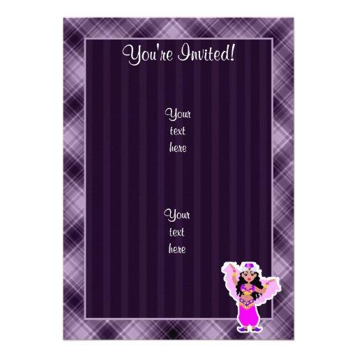 Dançarino de barriga roxo convite personalizados