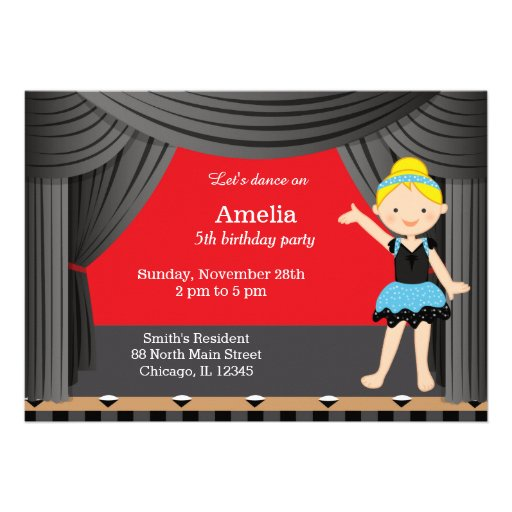Dançarino do aniversário convites