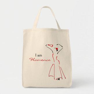 Dançarino do Flamenco com slogan customizável Sacola Tote De Mercado
