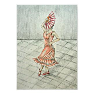 Dançarino do Flamenco Convite 12.7 X 17.78cm