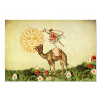 Dançarino do vintage em um camelo impressão de foto