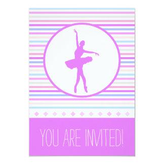 Dançarino horizontal Pastel bonito da bailarina Convite 12.7 X 17.78cm