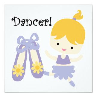 Dançarino louro convite quadrado 13.35 x 13.35cm