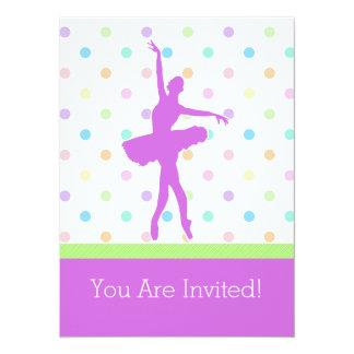 Dançarino Polca-Pontilhado Pastel do tutu com Convite 13.97 X 19.05cm
