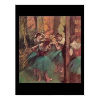 Dançarinos cor-de-rosa e verdes de Edgar Degas Cartão Postal