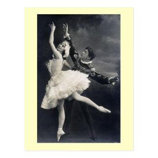 Dançarinos de balé do vintage cartão postal