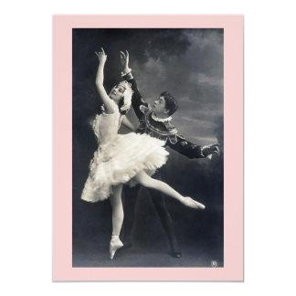 Dançarinos de balé do vintage convite 12.7 x 17.78cm