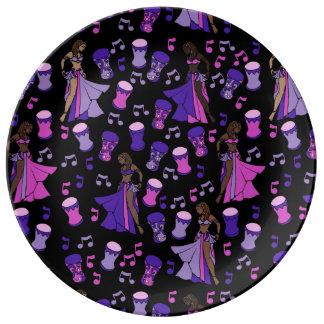 Dançarinos de barriga prato de porcelana
