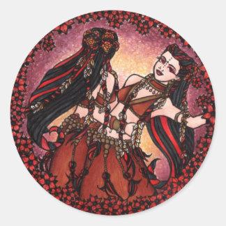 Dançarinos de barriga tribais dos Gêmeos Adesivos Redondos