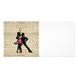 Dançarinos do salão de baile no papel do vintage cartão com foto