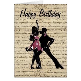 Dançarinos do salão de baile no papel do vintage cartão comemorativo