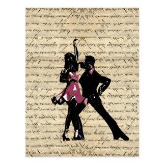 Dançarinos do salão de baile no papel do vintage cartão postal