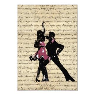 Dançarinos do salão de baile no papel do vintage convite personalizado