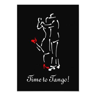 Dançarinos do tango (calçados vermelhos) com texto convite personalizados