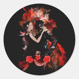 Dançarinos do tango no vermelho adesivos em formato redondos