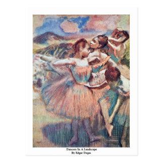 Dançarinos em uma paisagem por Edgar Degas Cartões Postais