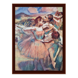 Dançarinos em uma paisagem por Edgar Degas Cartoes Postais
