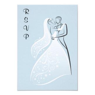 Dançarinos retros azuis RSVP do casamento Convite 8.89 X 12.7cm