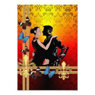 Dançarinos românticos do tango no damasco convite 8.89 x 12.7cm