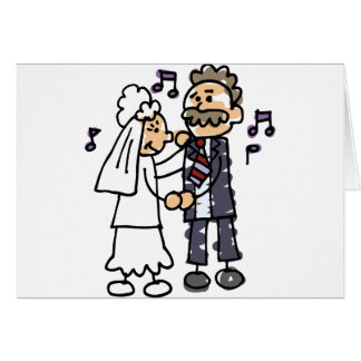 Danças da noiva com dança do casamento da filha do cartão comemorativo