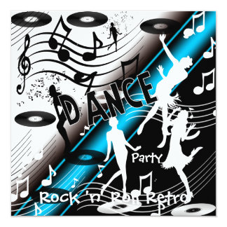 Dance party retro do rock and roll do convite