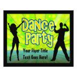 Dance party, verde de néon/preto panfletos personalizados