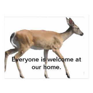 Dando boas-vindas ao cartão dos cervos cartões postais