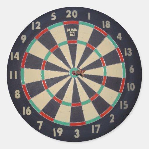 Dart_Board, _Red_Dart, _Bulls_Eye, _Sticker. Adesivos Redondos