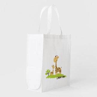 Das canvas orgânicas do planeta do girafa as bolsa sacolas ecológicas para supermercado