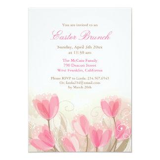 Das flores cor-de-rosa das tulipas da páscoa convite 12.7 x 17.78cm