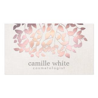 Das folhas cor-de-rosa da folha do falso da cosmet modelo cartões de visita