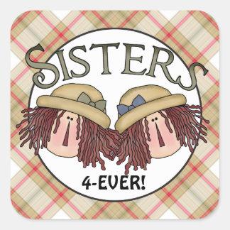 Das irmãs etiqueta do divertimento da família para