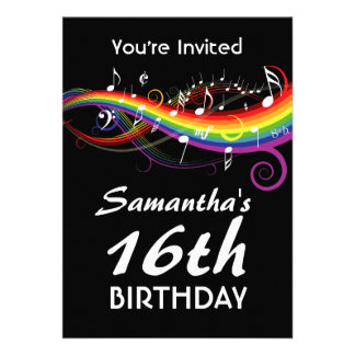 Das notas brancas da música do arco-íris festa de  convites personalizados