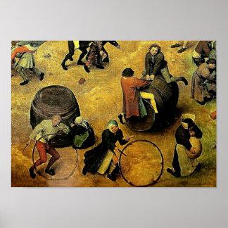 """Das """"Os jogos crianças"""" de Pieter Bruegel (detalhe Poster"""