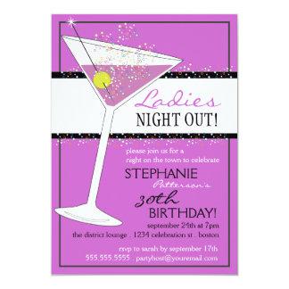 Das senhoras da noite celebração do aniversário de convite 12.7 x 17.78cm