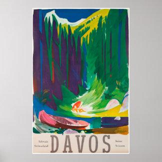 Davos, Parsenn, suiça, poster do esqui
