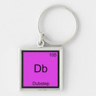 DB - Música engraçada do símbolo do elemento da qu Chaveiro Quadrado Na Cor Prata
