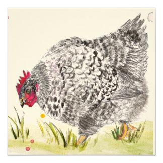 """De """"a galinha Mary"""" salpicou o cartão da galinha Convite Quadrado 13.35 X 13.35cm"""