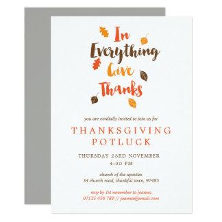 Dê a obrigados o convite de Potluck da acção de